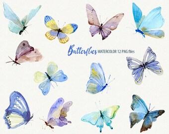 Watercolor butterflies clipart butterfly