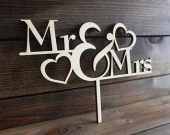 Wedding Cake Topper, Marriage, Bride, Groom, Mrs, Mr, Wood, Wooden, Hearts, Mister, Rustic, Love, Custom