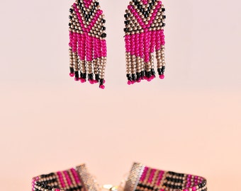 Bracelet and earrings in Miyuki seed beads