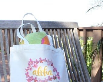 Bright Aloha Tote Bag with Orchid Lei, perfect for the beach!