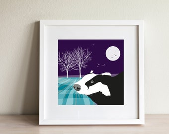 Badger Print - contemporary design, modern prints from Scotland