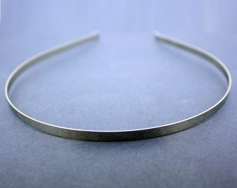 PLAIN SILVER HEADBANDS, 5mm. silver plated metal headband for your own designs.