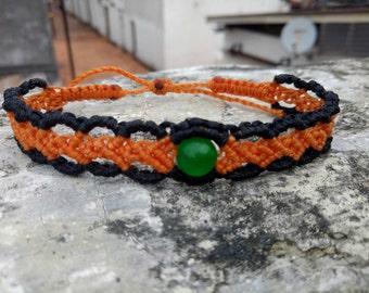 Beautiful macrame bracelet with jade stone