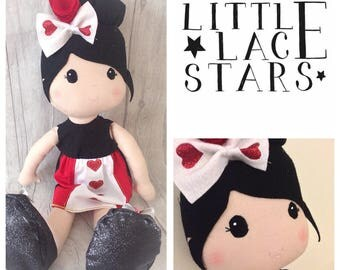 Handmade Doll, Soft doll, Rag doll, Queen of hearts, CE marked, Baby gift, Soft bodied doll