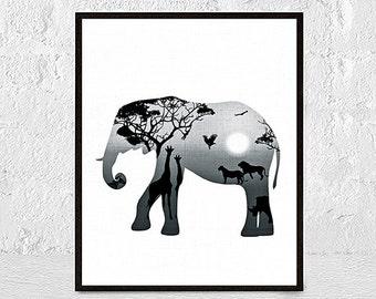 Elephant Art Elephant Print Elephant Nursery Boy Room Girl Room Elephant Decor Elephant Wall Art Elephant Painting Elephant animal wall art