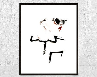 Fashion print, face print, Make up wall art, fashion illustration, badroom wall art, gift for her, lips art, black and white makeup art