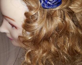 Blue Ribbon Rose hair clip