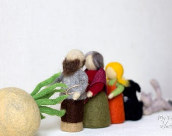 The Giant Turnip. Repka. Fairy tale. Needle felted Set. Ready to Ship