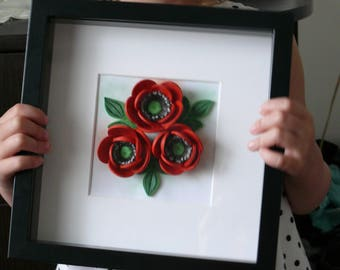 Quilling wall art Red poppies Quilling art 3D Quilling Quiller wall ard 3D flower Nice gift Quilling home decoration