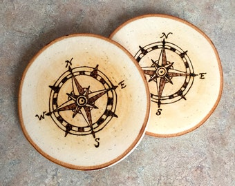 Woodburned Coaster, Compass Coaster, Wood Coaster, Birch Coaster, Made In Maine, Nautical Coaster, Housewarming Gift, Hostess Gift, Coasters