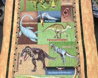 Dinosaur Children's Quilt 35x46 T-Rex Baby Blanket Boys Name of Dinosaurs