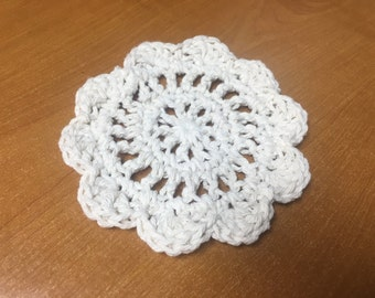 Ivory Coasters, Handmade Crochet Coasters, Vintage, Made To Order