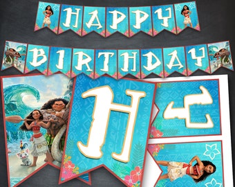 Moana Banner, Moana Birthday Banner, Princess Moana Party, Princess Moana Printables, Moana Birthday Favors, Moana Flags Banner