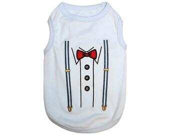 Suspenders Dog T-Shirt, Dog Clothes, Pet Shirts