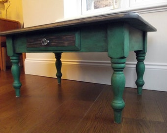 Shabby chic emerald green coffee table