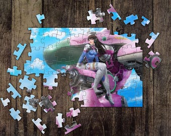 Personalized D. Va Overwatch Jigsaw Puzzles, Custom Name Photo Puzzle, Great Gift for a Gamer! Overwatch Game Puzzles