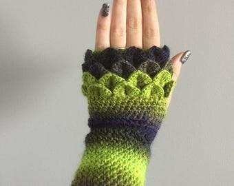 Fingerless dragon scale crochet gloves/wrist warmers/ arm warmers/ fingerless gloves