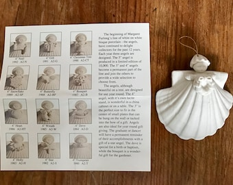 """Margaret Furlong 4"""" angel wreath ornament, 1985 Carriage House production, in box"""