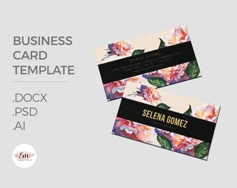 Floral, elegant business card template / creative business card / modern business card / personalized busieness card