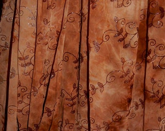 Vines Sheer With Sequins Chiffon Polyester Woven Fabric Apparel Craft Bridal