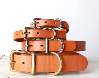 Tan leather Dog Collar -- Classic Belt Buckle Style