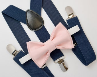 Bow Tie & Suspenders SET / Blush Pink Bow Tie / Navy Blue Suspenders / Kids Mens Baby Wedding Page Boy Set  6 months - to Adult Set