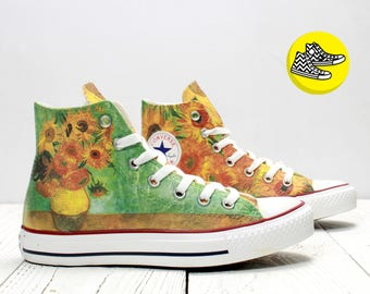 Van Gogh Sunflowers fine art custom design converse hi top floral painted sneakers