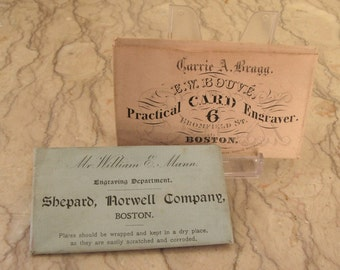 two 19th c. engraved calling card plates