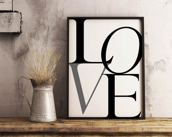 """Typography """"LOVE"""" Download Black/Grey and White 24""""x36"""""""