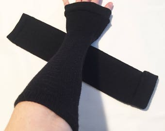 Elbow Length Black Arm Warmers Fingerless Gloves Sleeves Driving Hand Covers Diy