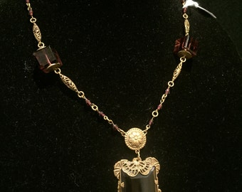 Purple Czech Princess Glass Pendant Necklace