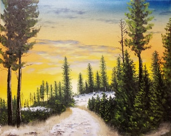 "Mountain Sunrise Original Oil Winter Forest Landscape Painting Hand Painted Warm Colors Wall Art Decor on Canvas size 16""x20"""