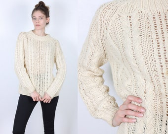 Vintage Cable Knit Sweater // 80s Open Weave Cream Pullover Jumper Womens - Medium