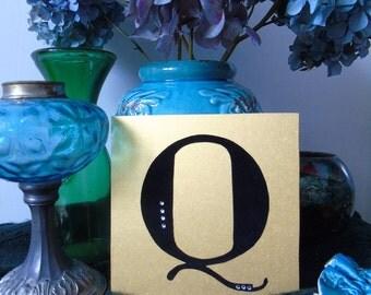 Q - letter on wood, wooden letter, made hand, handmade, gift, present, gold or silver, gold or silver, black velvet, black velvet, rhinestones