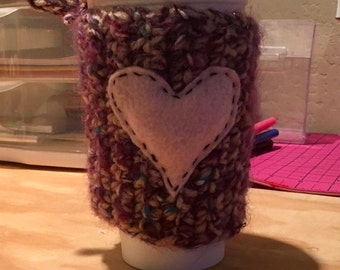 Purple coffee cozie with pink heart