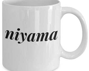 Yoga Gift Coffee Mug - Niyama - Unique yoga gift mug for him, her, husband, wife, boyfriend, men, women