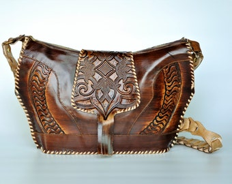 Tooled Leather Purse, Brown Tote Handbag Embossed Satchel, Cross Body Hand Made in Damascus