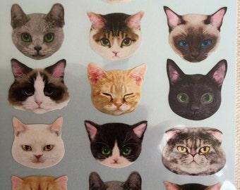 japan kawaii cat face sticker