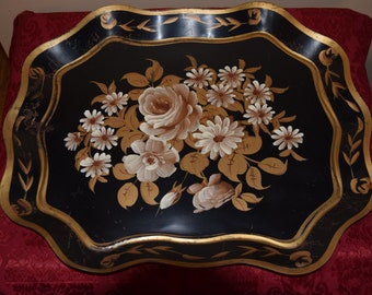 Vintage Painted Black Metal Tray
