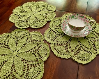Pretty green doilies, crocheted with love!