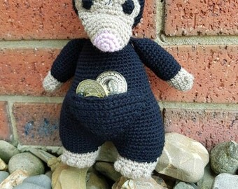 Crocheted niffler toy made with 100% Australian machine washable wool