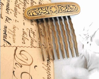 Comb 1900 hair ornament in Toledo gold floral patterned