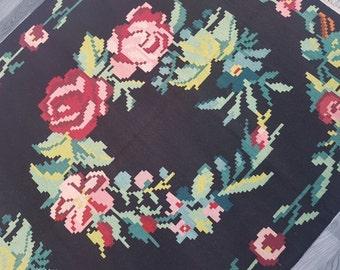 5x10 Double Floral Medallions Rug,Vintage Karabakh Kilim,Floral border,Multi-Color rug,Salon Rug,office rug,Vintage floral kilim