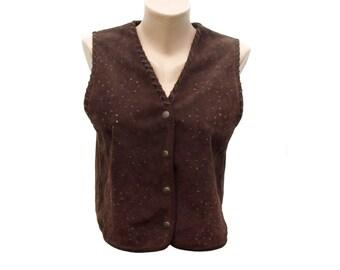 Vintage Pour Nous les Filles women vest brown calfskin cotton size 38/40