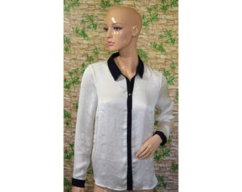 Vintage women top shirt ivory black