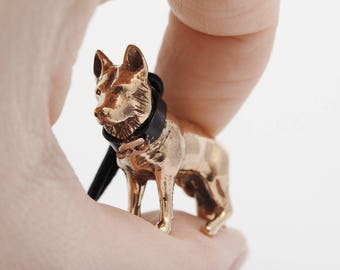 Vakkancs German Shepherd minisculpture keychain (3D solid bronze)