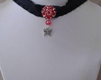 Black collar and Red rhinestone jewel
