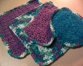 2 Crochet Dishcloths Wash Pad and Scrubbie Kitchen Cleaning Set