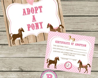 Adopt a Pony Pony Adoption Certificate Horse Birthday Party Ideas Pink Polka Dot Barn Wood Farm Cowgirl Horseback Riding Pet Adoption Party