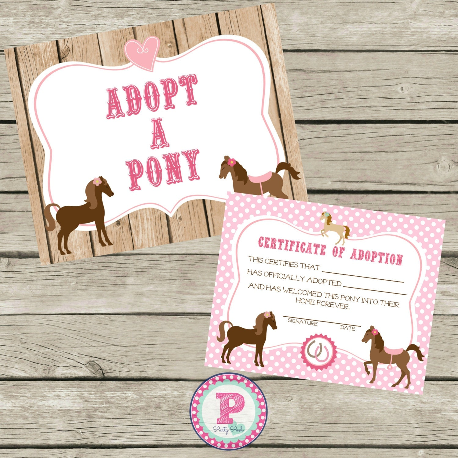 Adopt a pony pony adoption certificate horse birthday party zoom yadclub Gallery